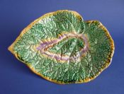 Large Victorian Majolica 'Begonia Leaf' Shaped Dish c1880